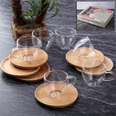 Alemdar Tabaklı Cam Kahve Fıncanı Setı Renkli